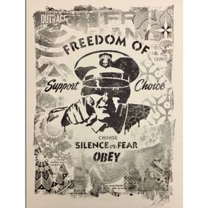 "Shepard Fairey ""DAMAGED"" Stencil Poster Print Obey"
